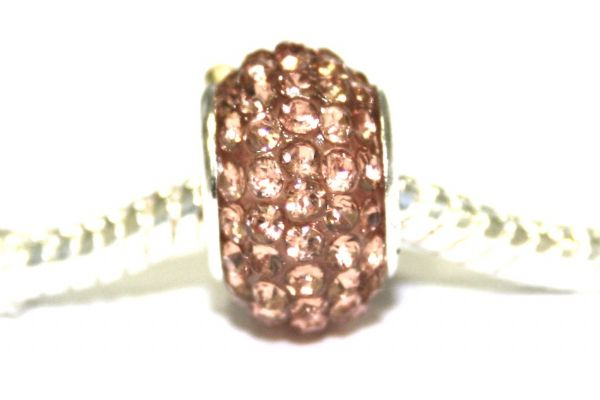 Champagne / Peach 12mm x 8mm pave crystal  bead with 5mm hole PD-S-12- 20